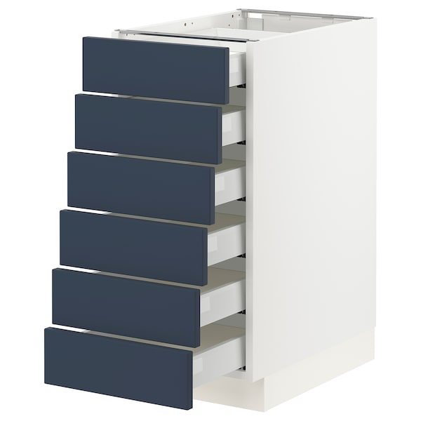 """SEKTION / MAXIMERA Base cabinet 6 fronts/6 low drawers, white Axstad/matte blue, 15x24x30 """""""