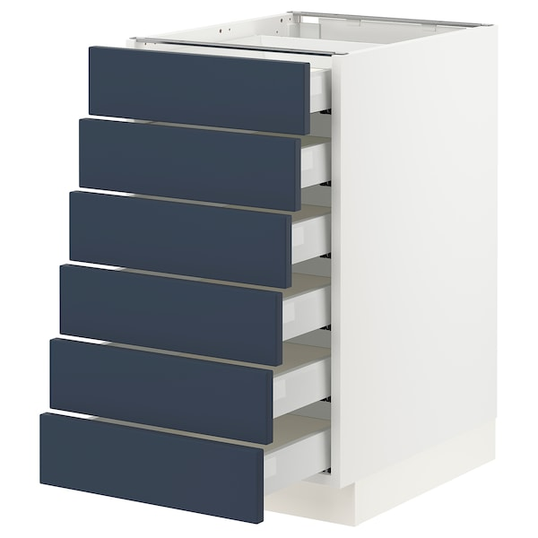 """SEKTION / MAXIMERA Base cabinet 6 fronts/6 low drawers, white Axstad/matte blue, 18x24x30 """""""