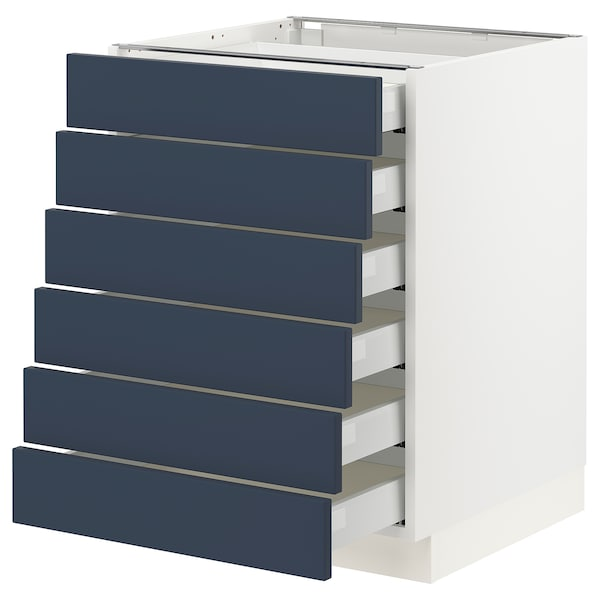 """SEKTION / MAXIMERA Base cabinet 6 fronts/6 low drawers, white Axstad/matte blue, 24x24x30 """""""