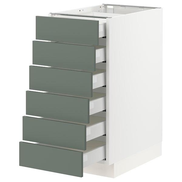 SEKTION / MAXIMERA Base cabinet/6 fronts/6 low drawers, white/Bodarp gray-green, 15x24x30 ""