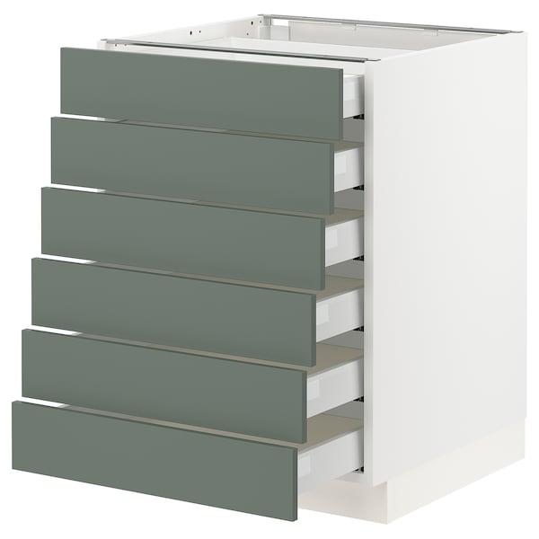 "SEKTION / MAXIMERA Base cabinet/6 fronts/6 low drawers, white/Bodarp gray-green, 24x24x30 """