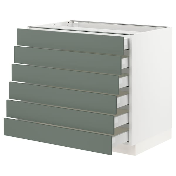 "SEKTION / MAXIMERA Base cabinet/6 fronts/6 low drawers, white/Bodarp gray-green, 36x24x30 """