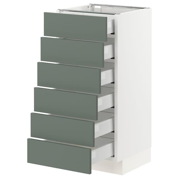 "SEKTION / MAXIMERA Base cabinet/6 fronts/6 low drawers, white/Bodarp gray-green, 15x15x30 """
