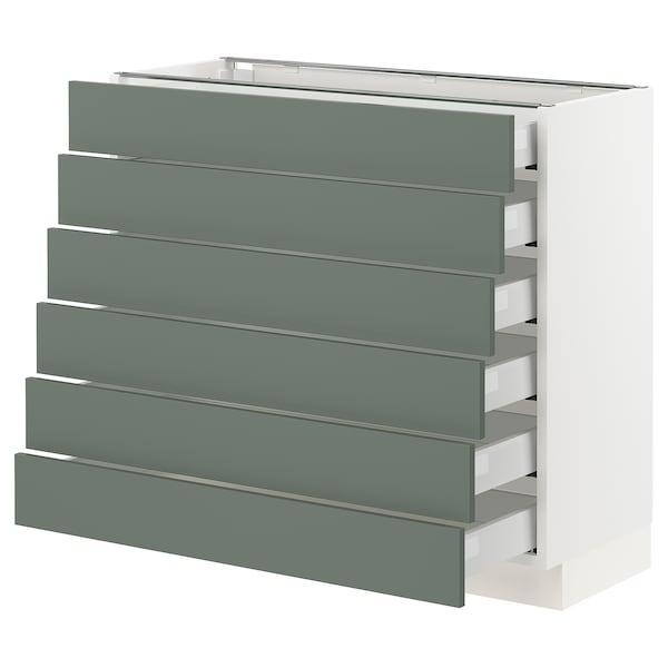 "SEKTION / MAXIMERA Base cabinet/6 fronts/6 low drawers, white/Bodarp gray-green, 36x15x30 """