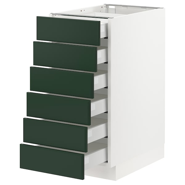 SEKTION / MAXIMERA Base cabinet/6 fronts/6 low drawers, white/Bodbyn dark green, 15x24x30 ""