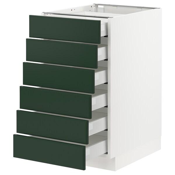 "SEKTION / MAXIMERA Base cabinet/6 fronts/6 low drawers, white/Bodbyn dark green, 18x24x30 """