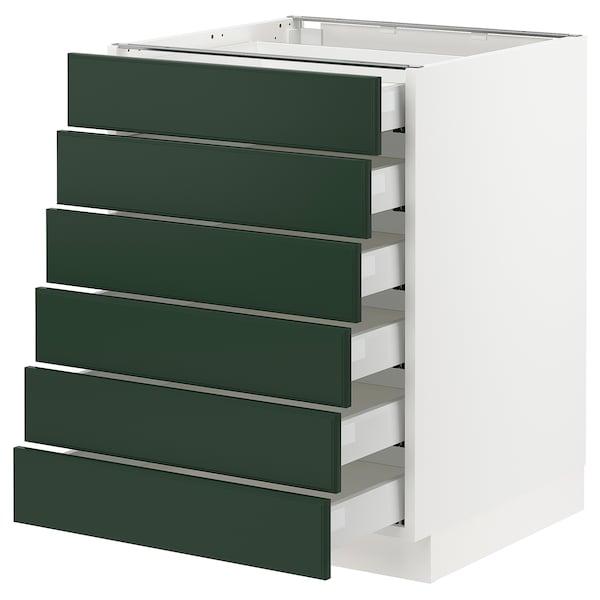 "SEKTION / MAXIMERA Base cabinet/6 fronts/6 low drawers, white/Bodbyn dark green, 24x24x30 """