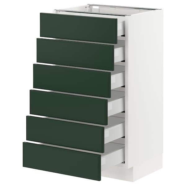 "SEKTION / MAXIMERA Base cabinet/6 fronts/6 low drawers, white/Bodbyn dark green, 18x15x30 """