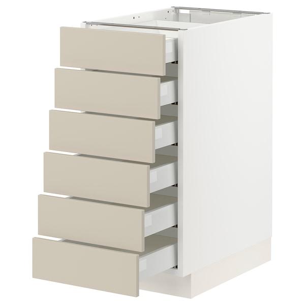 "SEKTION / MAXIMERA Base cabinet 6 fronts/6 low drawers, white/Havstorp beige, 15x24x30 """
