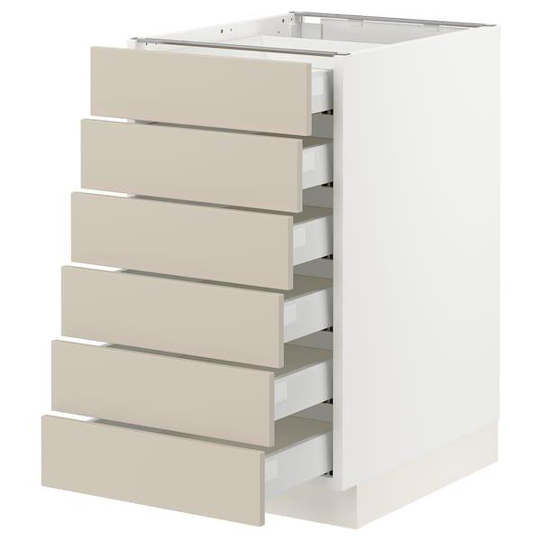"SEKTION / MAXIMERA Base cabinet 6 fronts/6 low drawers, white/Havstorp beige, 18x24x30 """