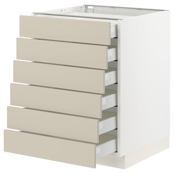 "SEKTION / MAXIMERA Base cabinet 6 fronts/6 low drawers, white/Havstorp beige, 24x24x30 """