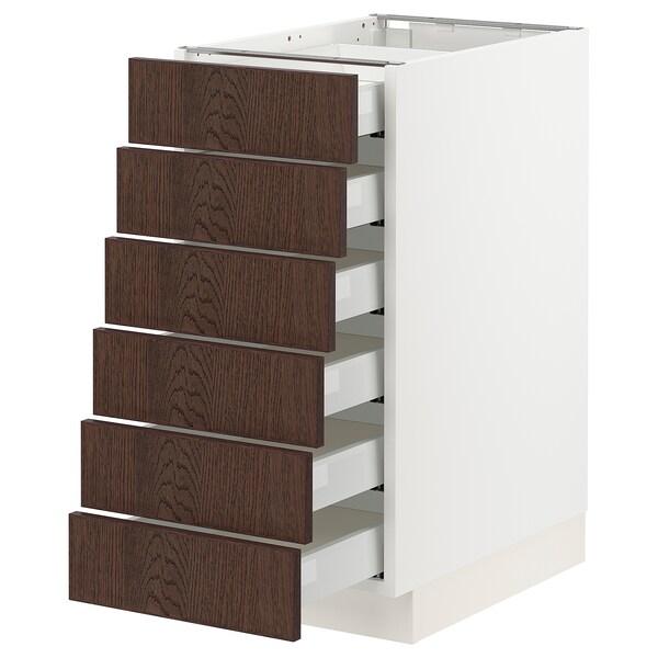 "SEKTION / MAXIMERA Base cabinet/6 fronts/6 low drawers, white/Sinarp brown, 15x24x30 """
