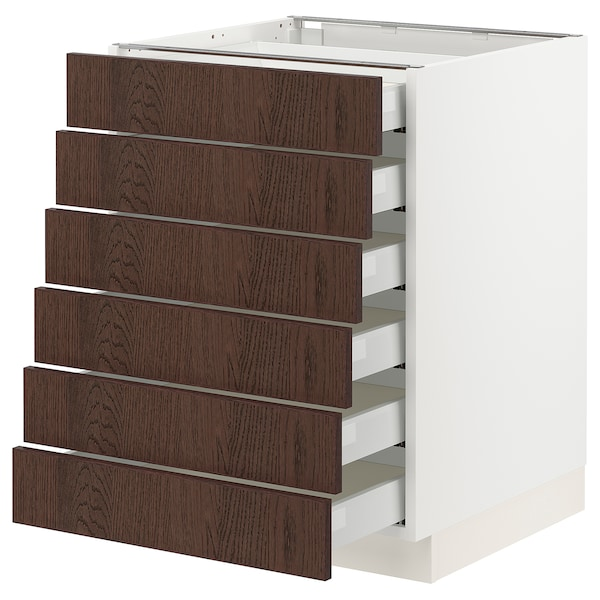 "SEKTION / MAXIMERA Base cabinet/6 fronts/6 low drawers, white/Sinarp brown, 24x24x30 """