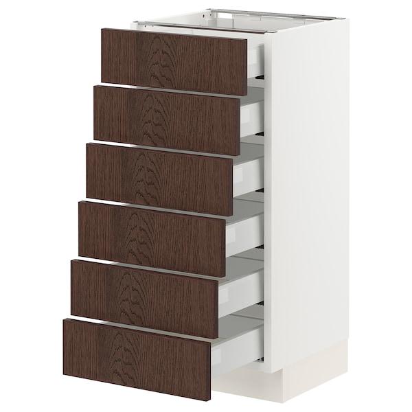 "SEKTION / MAXIMERA Base cabinet/6 fronts/6 low drawers, white/Sinarp brown, 15x15x30 """