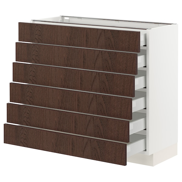 "SEKTION / MAXIMERA Base cabinet/6 fronts/6 low drawers, white/Sinarp brown, 36x15x30 """