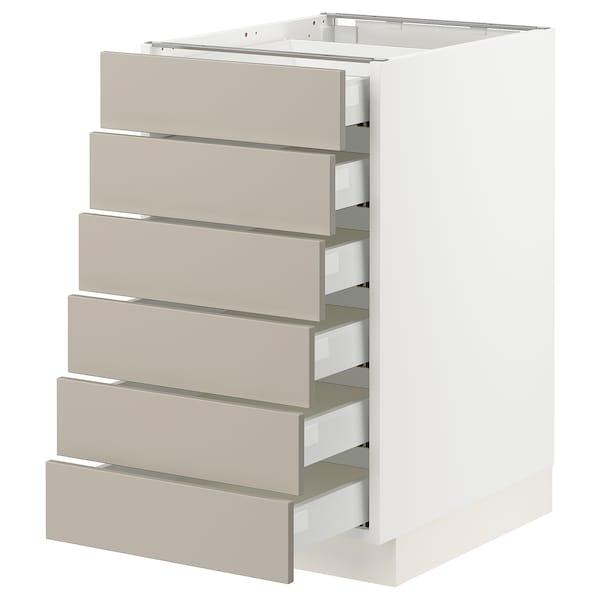 "SEKTION / MAXIMERA Base cabinet/6 fronts/6 low drawers, white/Stensund beige, 18x24x30 """