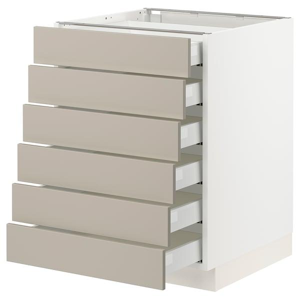 "SEKTION / MAXIMERA Base cabinet/6 fronts/6 low drawers, white/Stensund beige, 24x24x30 """