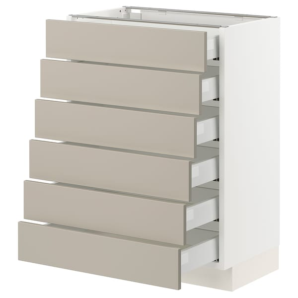 "SEKTION / MAXIMERA Base cabinet/6 fronts/6 low drawers, white/Stensund beige, 24x15x30 """