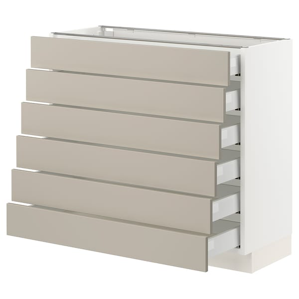 "SEKTION / MAXIMERA Base cabinet/6 fronts/6 low drawers, white/Stensund beige, 36x15x30 """