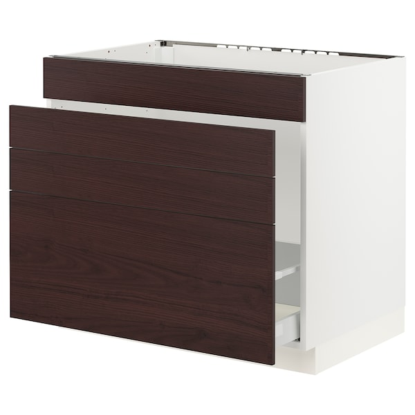 SEKTION / MAXIMERA Base cabinet f/sink & waste sorting, white Askersund/dark brown ash effect, 36x24x30 ""