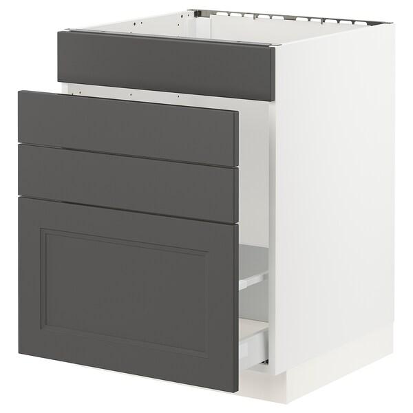 "SEKTION / MAXIMERA Base cabinet f/sink & waste sorting, white/Axstad dark gray, 24x24x30 """