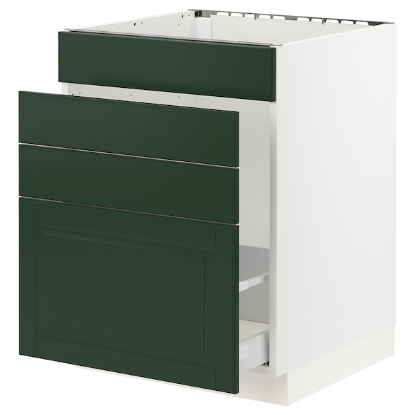 "SEKTION / MAXIMERA Base cabinet f/sink & waste sorting, white/Bodbyn dark green, 24x24x30 """