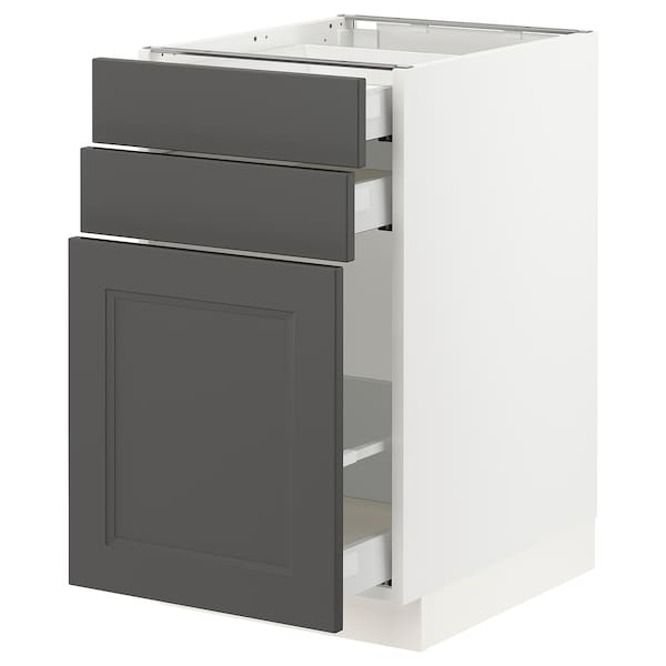 SEKTION / MAXIMERA Base cabinet/p-out storage/2 drawer, white/Axstad dark gray, 18x24x30 ""