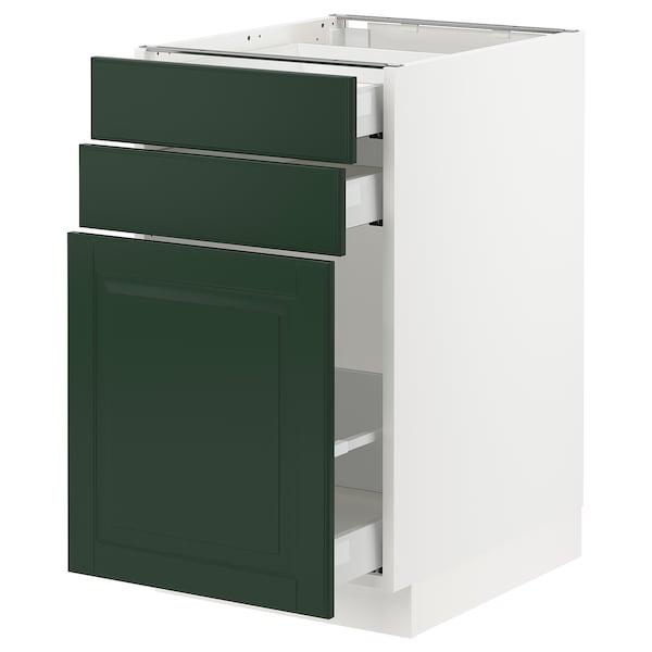 "SEKTION / MAXIMERA Base cabinet/p-out storage/2 drawer, white/Bodbyn dark green, 18x24x30 """