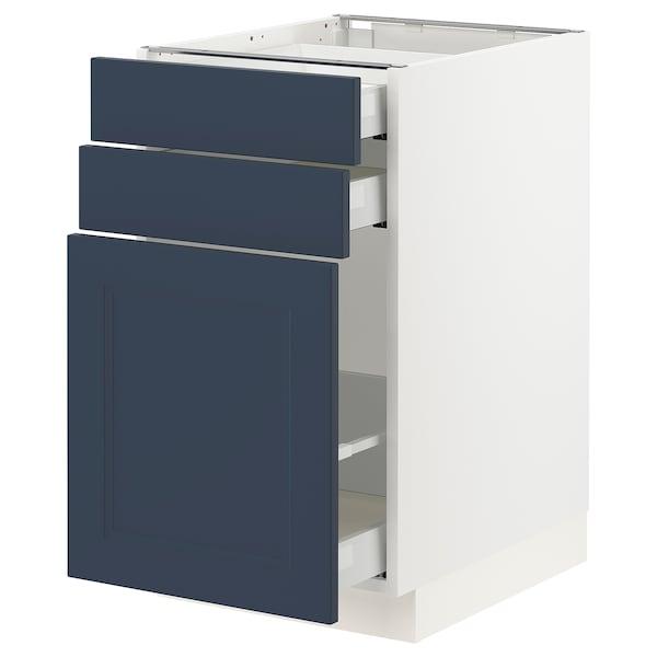 "SEKTION / MAXIMERA Base cabinet/p-out storage/2 drwrs, white Axstad/matte blue, 18x24x30 """