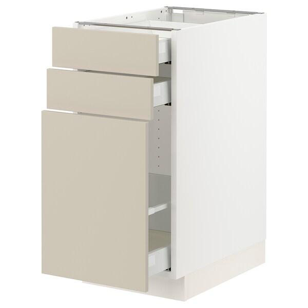 "SEKTION / MAXIMERA Base cabinet/p-out storage/2 drwrs, white/Havstorp beige, 15x24x30 """