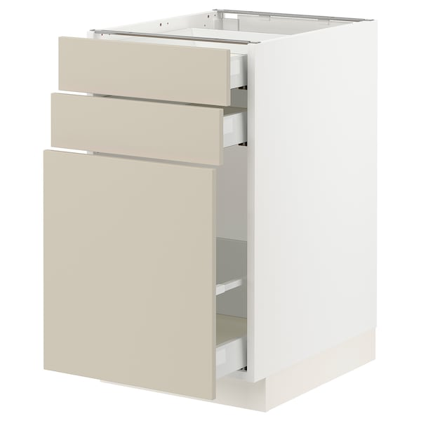 SEKTION / MAXIMERA Base cabinet/p-out storage/2 drwrs, white/Havstorp beige, 18x24x30 ""