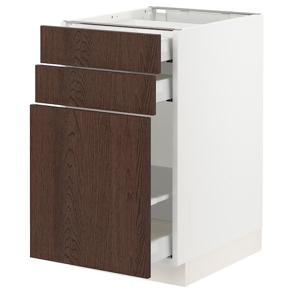 "SEKTION / MAXIMERA Base cabinet/p-out storage/2 drwrs, white/Sinarp brown, 18x24x30 """
