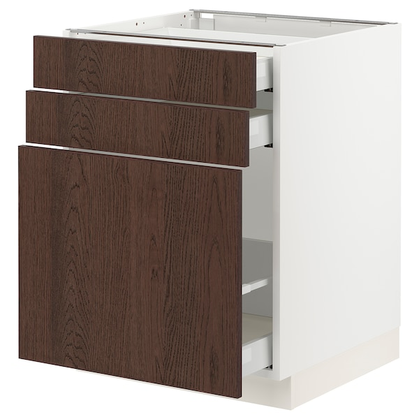 SEKTION / MAXIMERA Base cabinet/p-out storage/2 drwrs, white/Sinarp brown, 24x24x30 ""