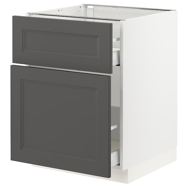 SEKTION / MAXIMERA Base cabinet/p-out storage/drawer, white/Axstad dark gray, 24x24x30 ""