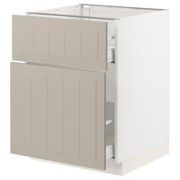 """SEKTION / MAXIMERA Base cabinet/p-out storage/drawer, white/Stensund beige, 24x24x30 """""""