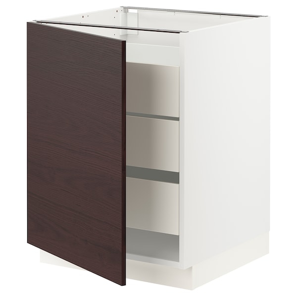 SEKTION / MAXIMERA Base cabinet w/1 door & 3 drawers, white Askersund/dark brown ash effect, 24x24x30 ""