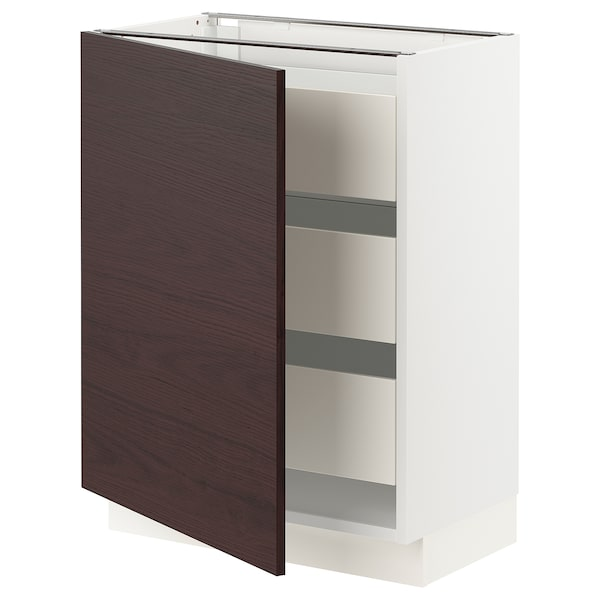 "SEKTION / MAXIMERA Base cabinet w/1 door & 3 drawers, white Askersund/dark brown ash effect, 24x15x30 """