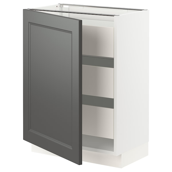 "SEKTION / MAXIMERA Base cabinet w/1 door & 3 drawers, white/Axstad dark gray, 24x15x30 """
