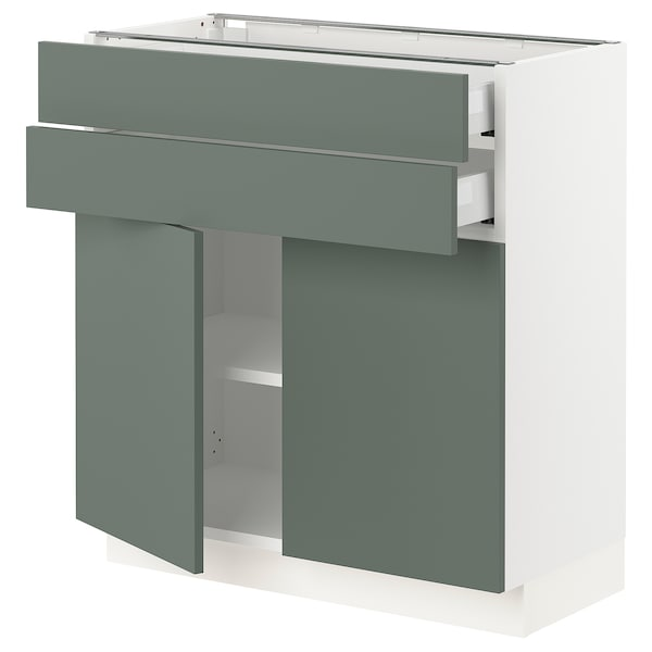"SEKTION / MAXIMERA base cabinet w 2 doors/2 drawers white/Bodarp gray-green 30 "" 15 "" 15 1/2 "" 30 """