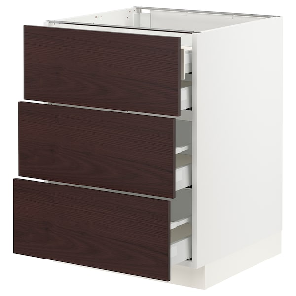 SEKTION / MAXIMERA Base cabinet w/3 fronts & 4 drawers, white Askersund/dark brown ash effect, 24x24x30 ""