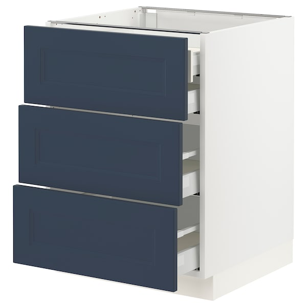 SEKTION / MAXIMERA Base cabinet w 3 fronts/4 drawers, white Axstad/matte blue, 24x24x30 ""