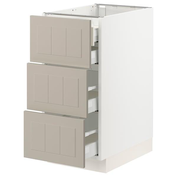 """SEKTION / MAXIMERA Base cabinet w 3 fronts/4 drawers, white/Stensund beige, 15x24x30 """""""