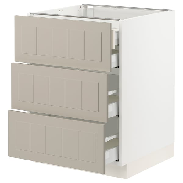 SEKTION / MAXIMERA Base cabinet w 3 fronts/4 drawers, white/Stensund beige, 24x24x30 ""