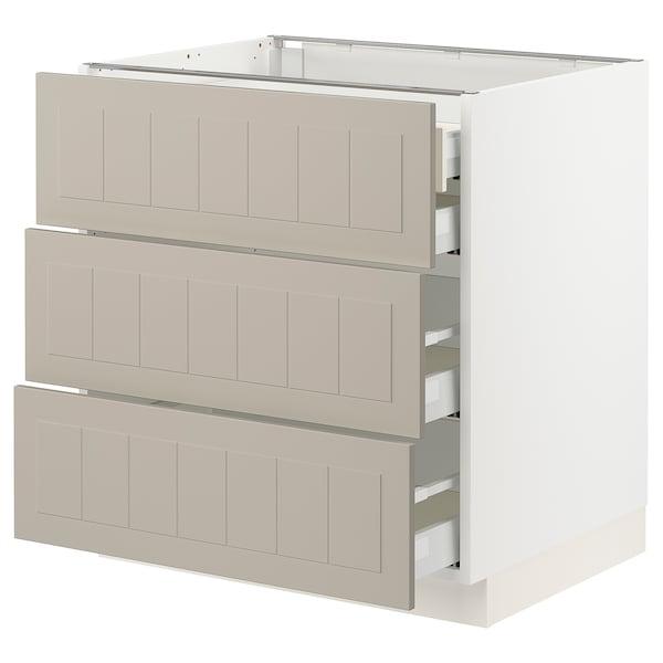 """SEKTION / MAXIMERA Base cabinet w 3 fronts/4 drawers, white/Stensund beige, 30x24x30 """""""