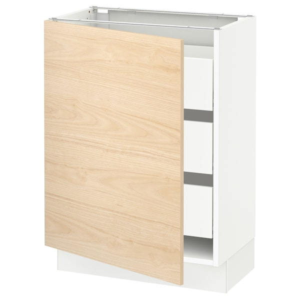 """SEKTION / MAXIMERA Base cabinet with 1 door/3 drawers, white/Askersund light ash effect, 24x15x30 """""""