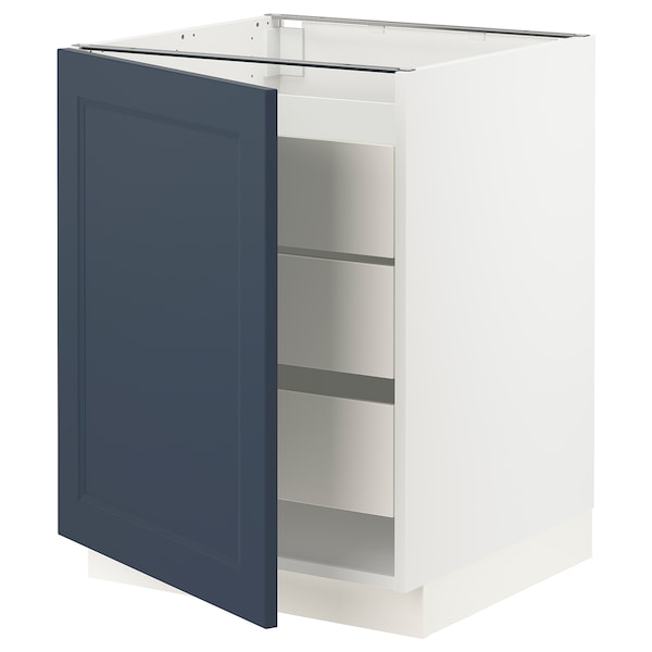 """SEKTION / MAXIMERA Base cabinet with 1 door/3 drawers, white Axstad/matte blue, 24x24x30 """""""