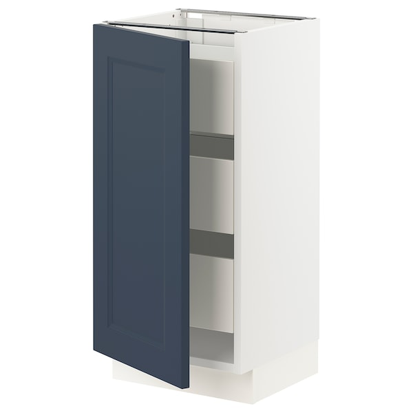 """SEKTION / MAXIMERA Base cabinet with 1 door/3 drawers, white Axstad/matte blue, 15x15x30 """""""