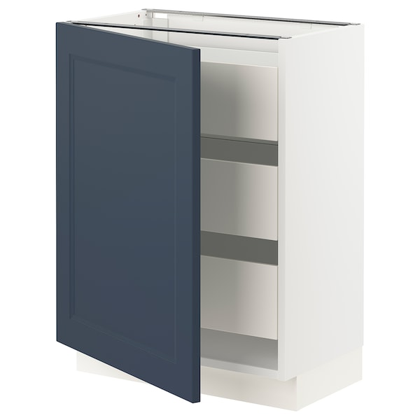 """SEKTION / MAXIMERA Base cabinet with 1 door/3 drawers, white Axstad/matte blue, 24x15x30 """""""