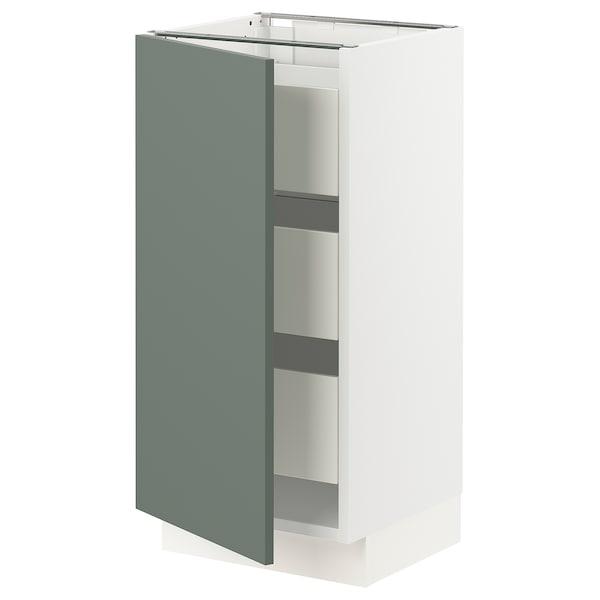 "SEKTION / MAXIMERA Base cabinet with 1 door/3 drawers, white/Bodarp gray-green, 15x15x30 """