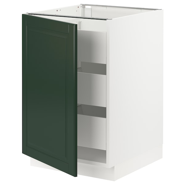 "SEKTION / MAXIMERA Base cabinet with 1 door/3 drawers, white/Bodbyn dark green, 21x24x30 """
